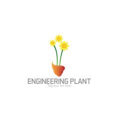 Enginering floral logo vector