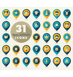 Farm animals flat pin map icon set head vector