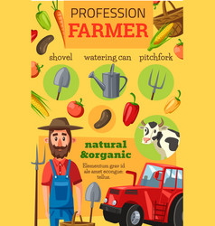 Farmer profession tools and vegetables vector