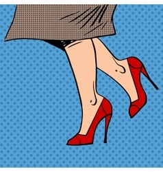 Female legs in red shoes woman coat goes pop art vector