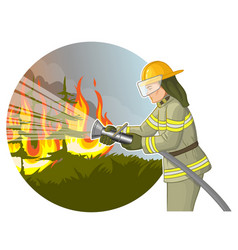 Firefighter with a fire hose against a fire vector