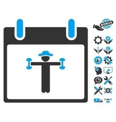 Fitness Calendar Day Icon With Bonus vector