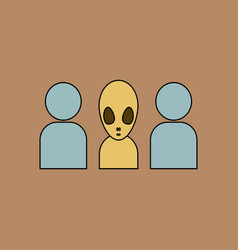 Flat icon design collection aliens silhouettes vector
