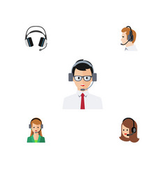 Flat icon telemarketing set of secretary help vector