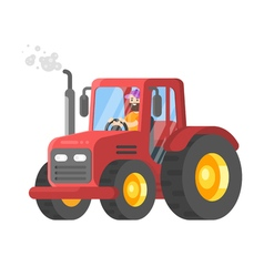 flat style of tractor-driver vector image