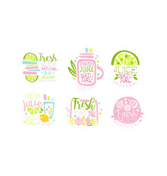 fresh juice original logo collection natural vector image