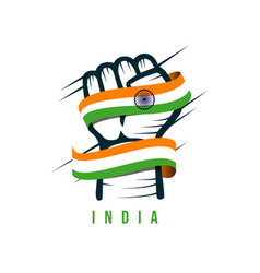 Hand and flag india template design vector