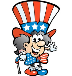 Hand-drawn of an Old Happy Uncle Sam vector