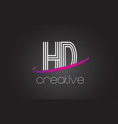 Hd h d letter logo with lines design and purple vector