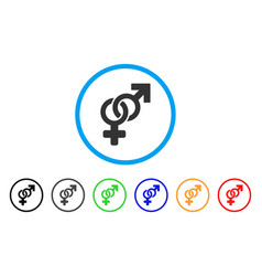 Heterosexual symbol rounded icon vector