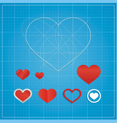 holiday card hearts on blueprint paper vector image