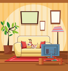 Home living room interior vector