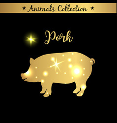 Isolated vintage gold emblem for farm with pork vector