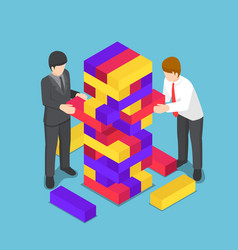 Isometric business people playing wood tower toy vector