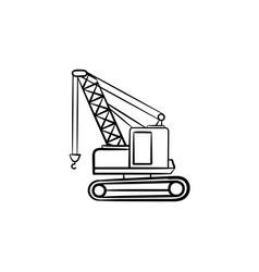 lifting crane hand drawn sketch icon vector image