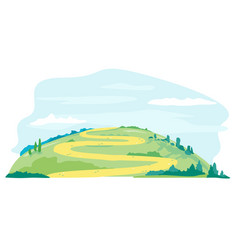Long winding road on hill vector