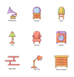Lounge icons set flat style vector