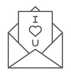 love letter thin line icon love and valentine vector image