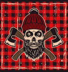 Lumberjack bearded skull color vector