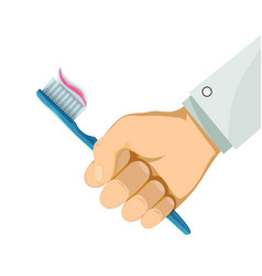Man holding a toothbrush in his hand hygiene and vector
