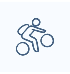 Man riding bike sketch icon vector