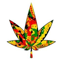 Marijuana leaf in Rastafarian colors vector