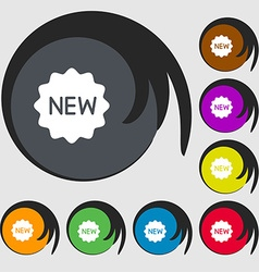 New Icon sign Symbols on eight colored buttons vector