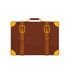 old brown traveler suitcase vintage leather bag vector image