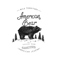 Old label with bear vector image
