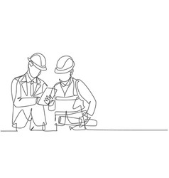 one single line drawing young construction vector image