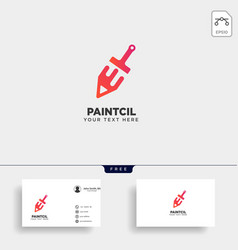 Pencil paint brush colorful logo template icon vector