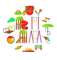 playground icons set cartoon style vector image