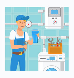 Plumber holding water filter vector