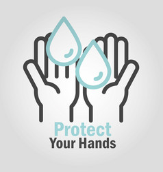 Protect your hands washing frequently covid 19 vector