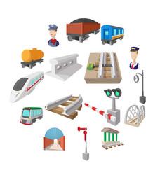 railroad cartoon icons vector image