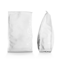Realistic blank plastic snack bag vector
