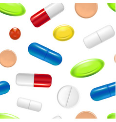 realistic detailed pills capsules and drugs vector image