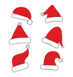red christmas hat set isolated vector image