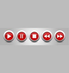 Red metallic music control buttons set vector