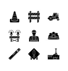 road works black glyph icons set on white space vector image