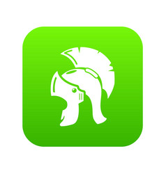 roman helmet icon green vector image