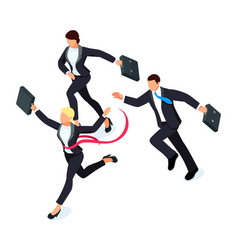 running businessmen isolated on white vector image