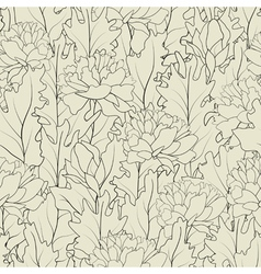 seamless a outline peonies and leafs vector image