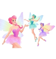 set of beautiful fairies with butterfly vector image