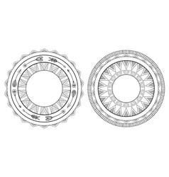 Set of black and white boho framesnative pattern vector