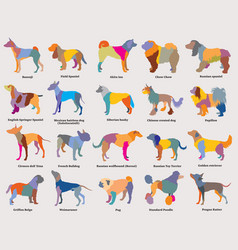 set of colorful mosaic dogs silhouettes-3 vector image