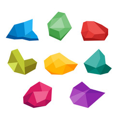 set of untreated precious gems collection of vector image