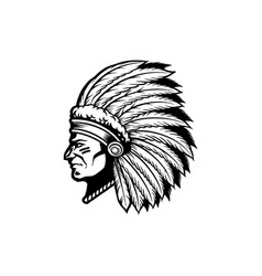 silhouette indian apache clipart vector image