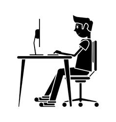 silhouette man sitting using laptop on desk design vector image