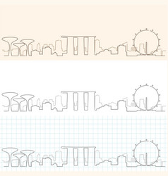 Singapore hand drawn skyline vector